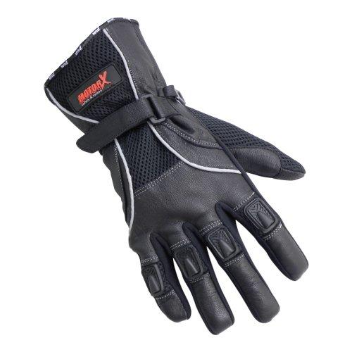 MotorX Motorrad-Handschuhe Sommer, Schwarz, Größe M