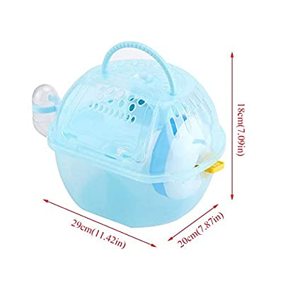 HEEPDD Portable Hamster Cage, Transparent Plastic Small Animal Carry Case Fully-equipped Accessories for Syrian Hamster Gerbil Rat Mouse Squirrel by HEEPDD