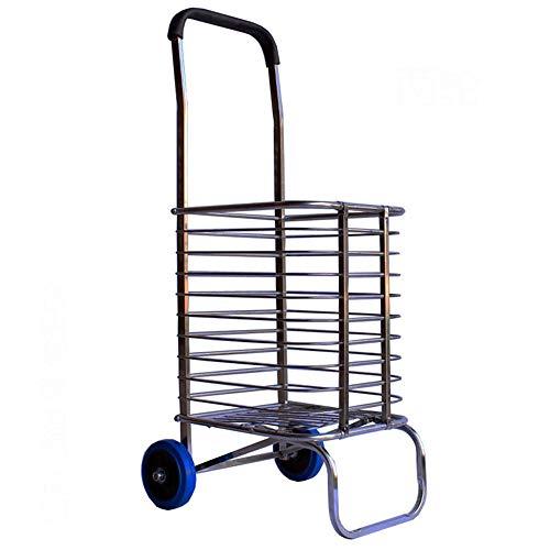 Tragbarer Faltbarer Einkaufswagen aus Edelstahl, volldrehbarer und langlebiger Wagen, tragender und leistungsstarker Treppenanhänger (Size : 2 Rounds)