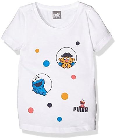 PUMA Kinder T-shirt Sesame Street Tee, White, 116, 838813 02