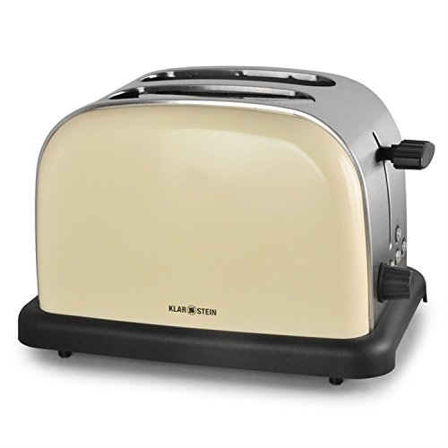 Klarstein BT-318 Toaster 2-Scheiben-Toaster Doppelschlitz-Toaster 50er Retro Design 1000 Watt Auftau-/Aufwärm-/Bagel-Funktion Edelstahl 6-stufig einstellbarer Bräunungsgrad creme