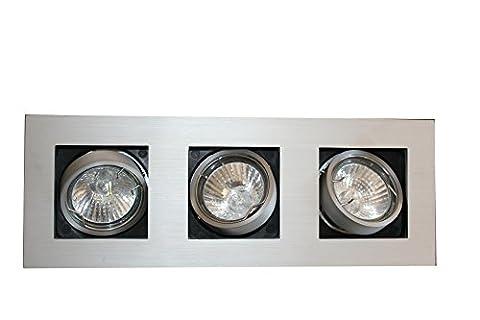 §§ Plafonnier ou Applique Moderne à encastre 3 Spots orientables. Rectangulaire fin en Aluminium Brossé. 3 x 35 watt GU10 Inclus