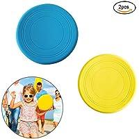EQLEF Frisbee Flying Disc Not Slip Juguete de Silicona Suave Parent-Child Happy Time Outdoor Sport 2 Piezas de 19 cm de diámetro Azul, Amarillo