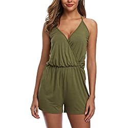 MISS MOLY Combinaison Femme Combishort Sexy Dos Nu Casuel Romper Jumpsuit Col V Playsuit Short Playsuit Vert X-Small