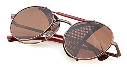 Double Bridge Metal Fold-in Mesh Side Shield Oval 52mm Sunglasses Brown Brown