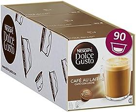 Nescafé Dolce Gusto Café au Lait, XXL-Vorratsbox, 90 Kaffeekapseln, 100% Arabica Bohnen, leichter Kaffeegenuss mit Cremigem Milchschaum, Vorratsbox, 3er Pack Großpackung (3 x 30 Kapseln)