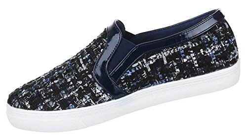 Damen Schuhe Halbschuhe Stoff Slipper Blau