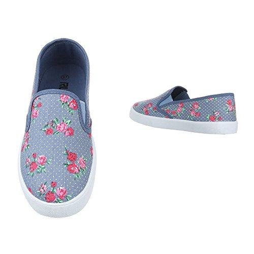 Slipper Damen Schuhe Low-Top Leichte Ital-Design Halbschuhe Blau Multi