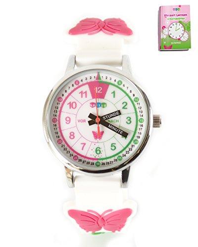 HAPIDS Lernuhr | Zeiger Armbanduhr Kinderuhr | Uhr zum Uhrzeit lesen lernen für Kinder | Mädchenuhr mit Schmetterling-Motiv | Farbe: Weiß & Rosa / Pink