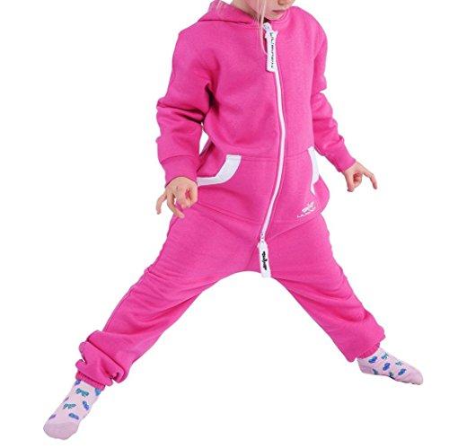 Kostüm Fleece Junge - LIL'Finch LFV2 Kinder Jumpsuit Jungen Mädchen Overall Rosa Gr. 110-116