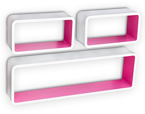 Etagère cube murale de 3 pièces en bois, coloris blanc et rose -PEGANE-