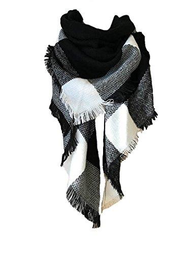 Tuopuda® Bufandas Mujer Cuadros de Enormes Grid Otoño Invierno Cálido Suave Bufanda Square (negro)