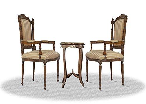 Casa Padrino Barock Wohnzimmerstuhl Set mit Beistelltisch Braun/Gold/Creme/Bronze - Antik Stil (Bronze Set Beistelltisch)