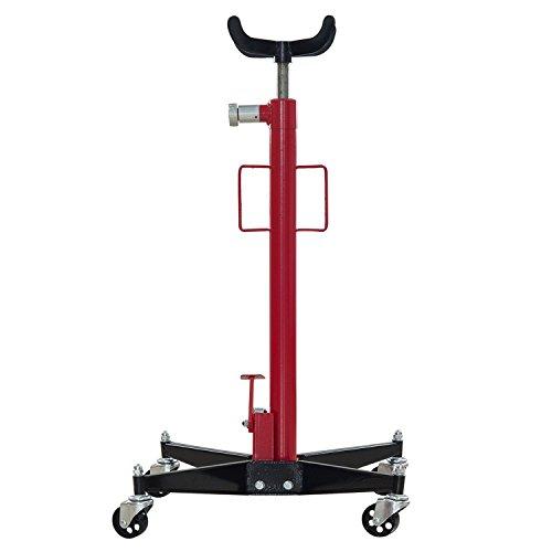 Homcom Verin de Fosse cric hydraulique a roulettes en Acier 500kg / 0.5t Hauteur reglable 90-190 cm Rouge