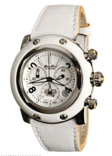 Glam Rock GR10120 - Reloj analógico unisex de cuarzo con correa de piel blanca - sumergible a 100 metros