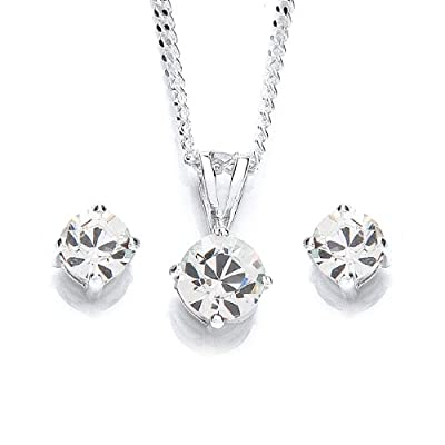 MiChic Jewellery Swarovski Crystal Pendant on 46 cm Silver Chain and Earring Set