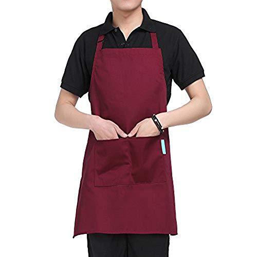 CAheadY Justierbares Lätzchen-Hauptküche-Kaffee-Bar-Kellnerin-Erwachsenen-Schürze mit 2 Taschen-Zuhause-Helfer Wine Red -