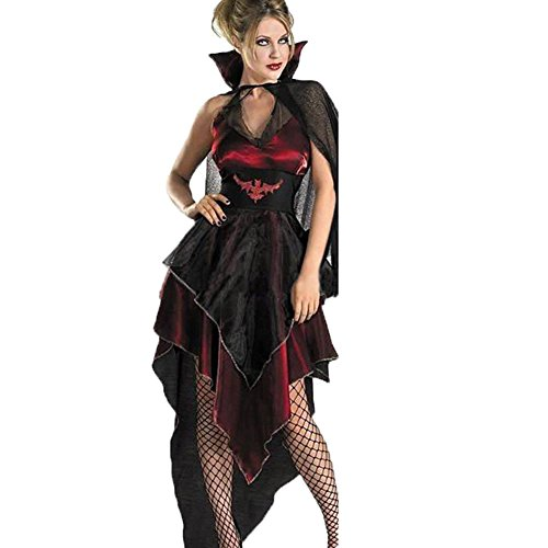 Cosfun Damen Halloween Röcke Puff Rock Spitze Hexe Anzug Vampir Make - up Kleid Umhang Kap (Vampir Hexe Kostüm Make Up)