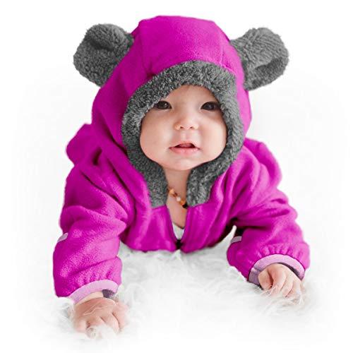 Forro Polar Abrigo Invierno De Pijama para Bebés Oso Morado 0-24 Meses