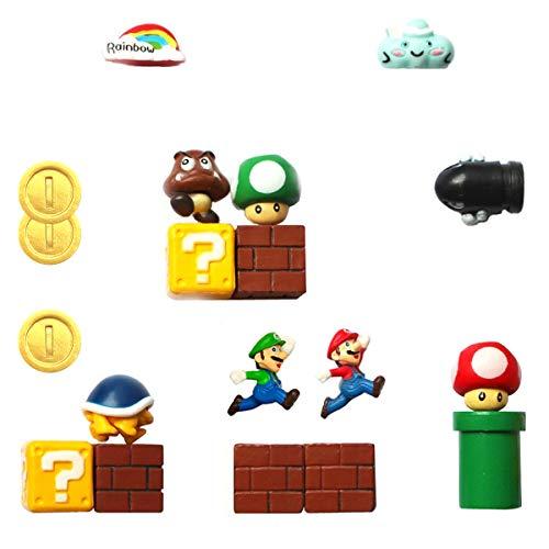 HXDZFX Super Mario 18 Piezas Nevera Oficina, Calendario, Imanes de Pizarra Blanca, Imán Decorativo, 2