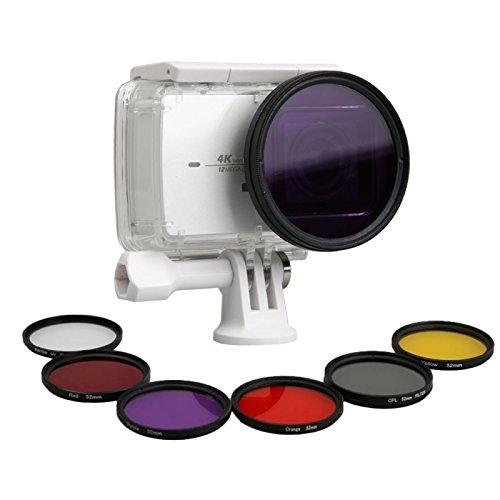 Galleria fotografica PULUZ 7 in 1 kit filtrante professionale a lenti da 52mm (CPL + UV + Rosso + arancione + giallo + viola) e anello adattatore per case di alloggiamento impermeabile per Xiaoyi Yi II 4K 4K +