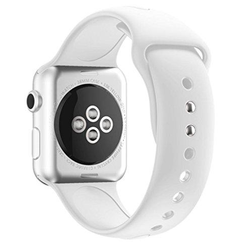 Sportband für Apple Watch Serie 1/2 38MM, CICIYONER Silikon Uhrenbänder, 14 Farben (Weiß, Apple Watch Serie 1/2 38MM)