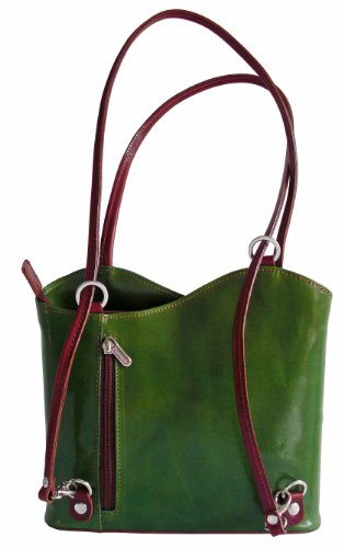 Echtem italienischem Leder, Handtasche, Schultertasche oder Rucksack. Medium und Large-Versionen. Enthält eine Staubschutztasche. Green and Brown