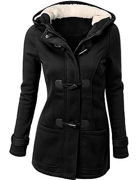 Mode Windjacke Damen, DoraMe Frauen Warme Wolle Schlank Strickjacke Langen Mantel Jacke Graben Langärmlige Kapuzenpullover