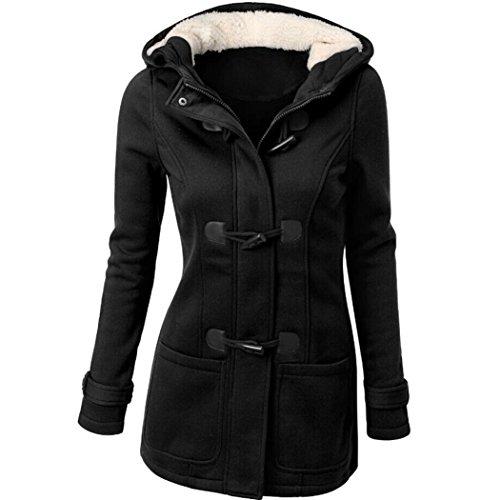 B Mode Windjacke Outwear Warme Wolle Schlank Langen Mantel Jacke Graben Hörner schnalle mantel Kapuzenjacke Reißverschluss mantel (L, Schwarz) (Halloween Cowgirl)