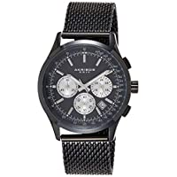 Akribos XXIV Men's Black Chronograph Tachymeter Scale Watch - Matte Dial - Luminous Hands and Markers - Stainless Steel Mesh Bracelet - AK624