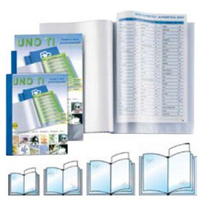 UNO TI 50X70-12 BLU, orange peel PP display books with customizable front and back covers, blau Blau Back Cover