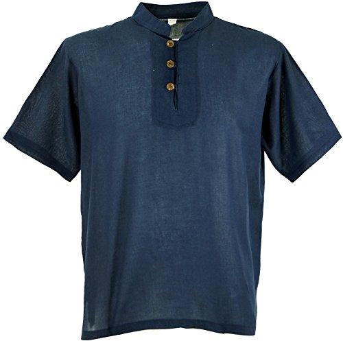 Guru-Shop Yoga Hemd, Goa Hemd, Kurzarm, Männerhemd, Baumwollhemd, Herren, Baumwolle, Männerhemden Alternative Bekleidung Dunkelblau