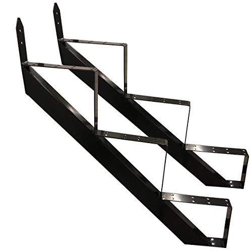 Treppenrahmen 2-10 Stufen-Wahl Stahl-Treppe Schwarz Treppenholm/Wählen Sie die Stufen-Anzahl (3 stufig)