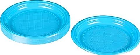 Kigima Assiettes jetables en plastique bleu clair, 30 pièces, diamètre 22cm