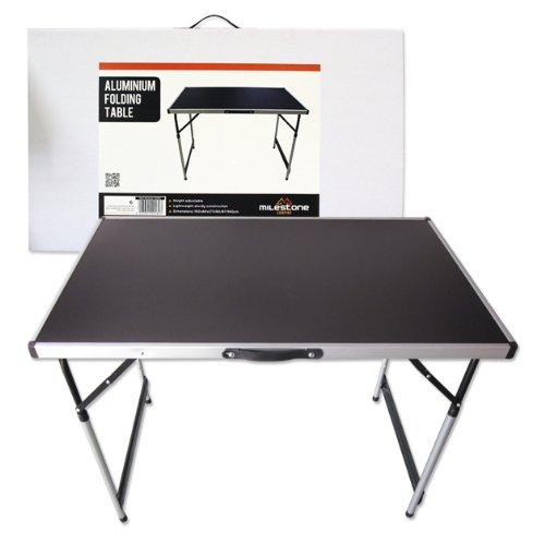 Milestone - Tavolo pieghevole da campeggio in alluminio, colore nero