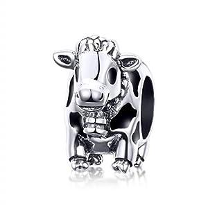 Animal Collection Charm-Anhänger aus 925er Sterlingsilber, Motiv: Kuh, für Original-Armbänder