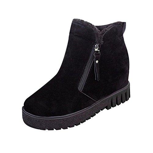Bottes et boots,Transer®Mode femmes cheville Suede Boots Flats chaud chaussures occasionnelles Noir