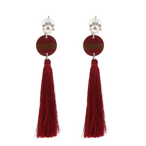 Ethnische Quasten baumeln Haken Ohrringe für Hochzeiten, Charm Tassel Ohrringe - Weinrot