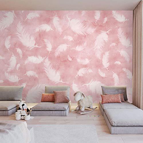 Fotomurali 3D Moderni Ragazza di piume rosa Carta da Parati non tessuto poster decorazione da parete per Soggiorno Muro 200CMx140CM
