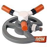 Bradas WL-Z16 3-Arm Drehsprenger Kreisregner Rasensprenger Sprinkler, Impulsregner 85 qm, grau, 10 x 10 x 5 cm