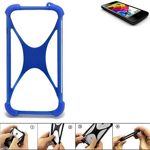 K-S-Trade Handyhülle für Mobistel Cynus E4 Silikon Schutz Hülle Cover Case Bumper Silikoncase TPU Softcase Schutzhülle Smartphone Stoßschutz, blau (1x)