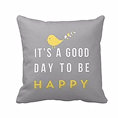 "Square Throw Pillow Case, Rcool Yellow Bird ""it's a good day to be happy"" Cushion Cover 45cm"