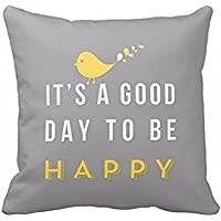 """Square Throw Pillow Case, Rcool Yellow Bird """"it's a good day to be happy"""" Cushion Cover 45cm"""