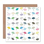 Wee Blue Coo UMBRELLAS COLOURFUL SPRING RAIN PATTERN BLANK GREETINGS BIRTHDAY CARD ART