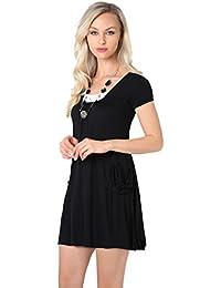 KRISP® Women 2 in 1 Boho Gypsy Dress Jersey Top Pleated A Line Necklace Tunic