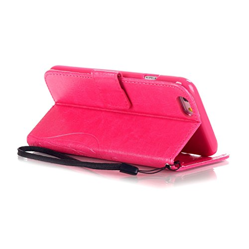 iPhone 5C Cuir Coque housse Etui,Vandot Case Cover pour iPhone 5C Fermeture Eclair Leather Money Sac Carte Bag Protection telephone Hull Cas Portefeuille + Stylet- Noir Papillon vigne-Rouge