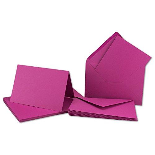 DIN B6 Faltkarten Set mit Umschlägen | Amarena-Rot | 50 Sets | 115 x 170 mm | ideal für Einladungskarten, Hochzeit, Taufe, Kommunion, Konfirmation | formstabil | Marke: FarbenFroh®