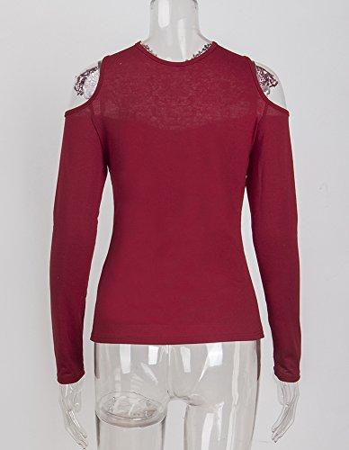 ShallGood Femme Sexy Dentelle Patchwork Chemise T-Shirt Cou V Manche Longue Lâche Tunique Blouse Casual Blouse Tops B Rouge