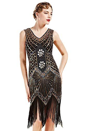 BABEYOND Damen Flapper Kleider voller Pailletten Retro 1920er Jahre Stil V-Ausschnitt Great Gatsby Motto Party Damen Kostüm Kleid (Gold, XXL (Fits 86-90 cm Waist)) (Fransen-kleid-gold)