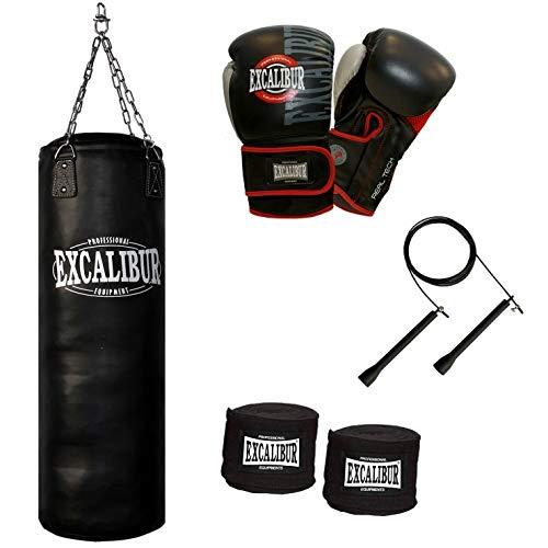 Handgefertigter Boxsack Excalibur PRO - Extrem Robust Mit Doppelten Nähten & Strapazierbarem Kunstleder - Inkl. Kettenaufhängung, Drehwirbel & Stabiler Aufhängung, 120cm -(12 Oz)